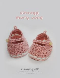 Vintage Mary Jane Baby Booties Crochet PATTERN by Kittying.com / Mulu.us