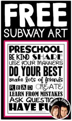 FREE Subway Art for Preschool in English & Spanish!