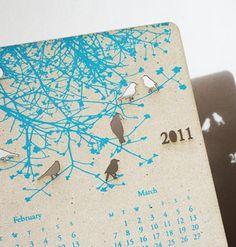 Tinted mint's laser cut birds calendar