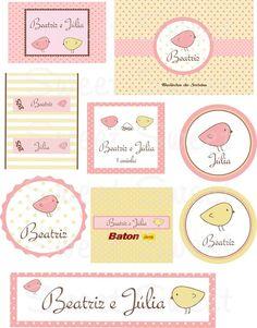 """Kit tema """"Passarinhos"""" amarelo e rosa para aniverásrio, chá de bebê, chá de fraldas ou nascimento. Opções: - Caixinhas em papel cartão - Bis - Baton - Latinhas - Tags para agradecimento - Toppers para docinhos - Garrafinhas de água mineral - Tubetes  - Mini hidratantes - Chocolates - Tag para pão de mel - Rótulos para bolinhas de sabão - Marmitinha   Você monta o kit do jeito que quiser!!!! Consultar valores individuais.  ATENÇÃO: Somente após a confirmação de pagamento enviamos a arte para a..."""