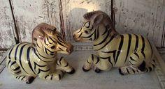 Vintage African Zebras figurines Set of two ceramic on Etsy, $20.00