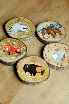 Wood slice paintings