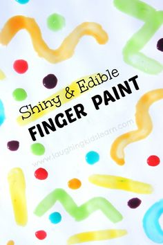 Homemade edible and shiny finger paint for kids