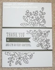 Stampin'UP!'s SO VERY GRATEFUL stamp set in MONOTONE. Love the little rhinestone on the banner.
