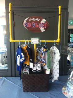 How cute is this Football Basket I made for my nephew. You can also use the goal post for future football parties.