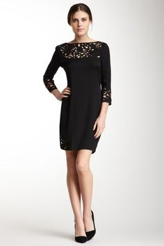 Embroidered Georgette Shift Dress