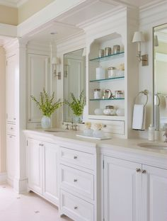 Love the decor shelves between the mirrors    Daniel Contelmo Architects