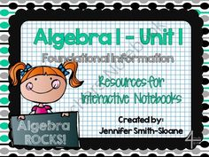 Algebra Foundations Interactive Notebook Bundle from 4mulaFun on TeachersNotebook.com -  (64 pages)  - Algebra Foundations Interactive Notebook Bundle