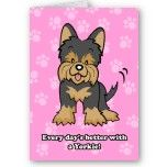 Cute Cartoon Dog Yorkie Greeting Card from Zazzle.com
