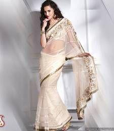 Vanilla White Embroidered  Net Saree net-saree @ www.mirraw.com indian dress, sare netsare, designer sarees, indian wear, cream color, cream net, indian fashion, desi style, net sare