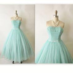 50's Prom Dress // Vintage 1950's Strapless Robins Egg Blue Chiffon Prom Wedding Party Dress XS. $178.00, via Etsy.