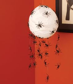 Hallween Spider Hatchlings decoration.  This is one egg that trick-or-treaters will scramble to get away from: an orb of hatching spiders hanging from an entryway ceiling or a door frame.