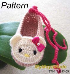 Crochet Pattern - Hello Kitty Crochet Baby Booties PDF Pattern - BT04122013-05 - Instant Download on Etsy, $5.99