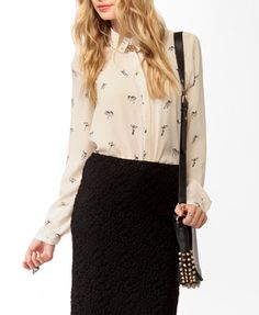 F21 Circus print blouse, cream and black $23.80