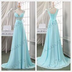 Deep V neck prom dress/evening dress/party by ahlsen1976 on Etsy, $119.00