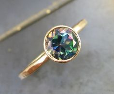 Rainbow Topaz and Recycled 14k Gold Ring