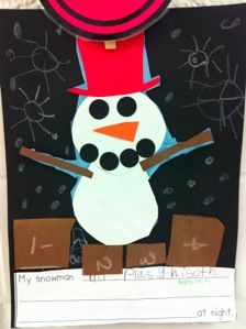 Read Snowmen at night and then have kids finish the writing prompt: My snowman ______s at night.