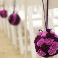 Love these colors.  Carnation topiary balls with the two colors!