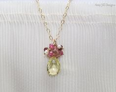 Lemon Topaz Necklace, Pink Tourmaline, Freshwater Pearl, Cluster Pendant, Wire Wrapped, Gold Filled Chain, Yellow Pink Gemstone Necklace on Etsy, $47.00