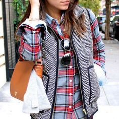 I am kicking myself for not buying this J. Crew vest last year!! It looks so cute with everything!!! fashion, mixing patterns, style, j crew, tory burch, mixed prints, fall outfits, plaid shirts, jcrew
