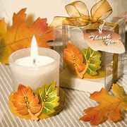 Leaf Design Candle Favors  #wedding #Gift #Theme #Fall #Autumn bridalshowerfavors.com