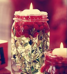 DIY lamp made with old glass jar, mistletoe, berries and sweet vanilla scented candle...