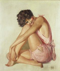 American Art – 1934 Bathing Beauty Illustration Painting: Vintage Original Pin-Up Art