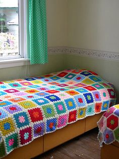 Granny square afghan #crochet #rainbow