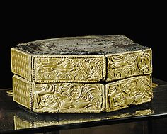 Hexagonal gold-plated wooden box with animal ornaments (1500 BCE) from a Mycenaean tomb, Greece.  National Archaeological Museum, Athens, Greece