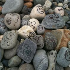 Rock faces. Would be a great idea to make and scatter around the beach for random people to see