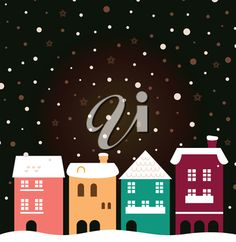 iCLIPART - Clip Art Illustration of Houses in Winter with Falling Snow #winter #snowflakes #clipart