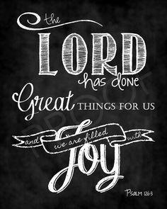 Scripture Art 11x14 - Psalm 126:3 Chalkboard