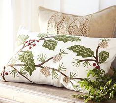 Holly Berry Embroidered Lumbar Pillow Cover #potterybarn