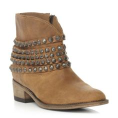 steve madden ladies tan studded multi strap leather ankle boot, dune shoes online