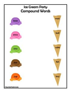 Free! Ice Cream Party  Compound Words