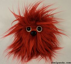 "4"" Coodle - Red Furry Monster Plush. $10.00, via Etsy."