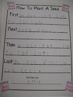 how to plant a seed procedural writing - Great Earth Day Idea