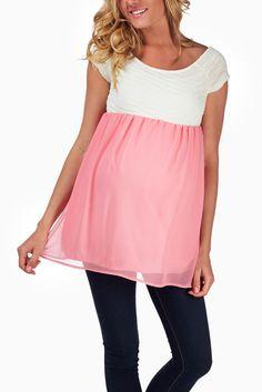 Pink-Chiffon-Textured-Maternity-Blouse #maternity #fashion