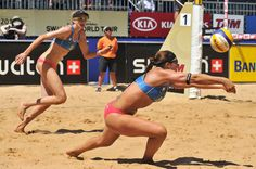 Misty May-Treanor (USA) receives the ball during the match against Larissa/Juliana (Brazil)