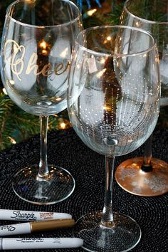 DIY - Wine Glasses using Sharpies {Tutorial} set in a cool oven, bake 350 for 30 mins