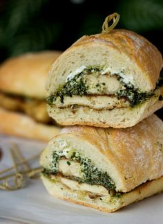 Goat Cheese Pesto Chicken Sandwich from www.tablefortwobl... We had almost this exact sandwich at camp. Wrap in foil and heat in a box oven or place wrapped sandwiches in a preheated Dutch oven. YUMM