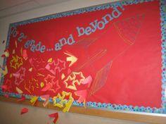 Rocketship and stars bulletin board