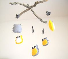 Baby Crib Mobile - Baby Owl Mobile for Nursery - Gray, Yellow, White, Grey