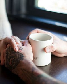 hand tattoos, rose, cups, caffeine, morning coffee, tea, cup of coffee, ink, holding hands