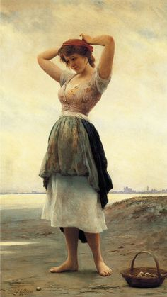 On the Beach by Eugene de Blaas