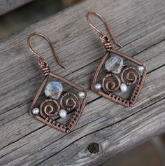 Copper Pearl Moonstone Wire WRapped Diamond Earrings: I love upside down briolettes - different take on the world.