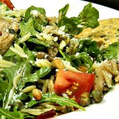 """Chicken Florentine Salad with Orzo Pasta 