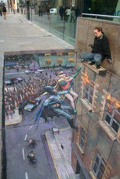 robin, 3d street art, optical illusions, sidewalk art, 3d chalk art