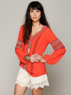 Free People French Smocked Lace Short