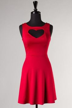 I found 'Red Heart Cutout Dress, Dress, heart skater dress low cut, Chic' on Wish, check it out!